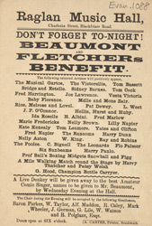 Poster for a benefit performance at the Raglan Music Hall